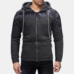 Mens Patchwork Color Insert Pocket Zipper Long Sleeve Hooded Sweatshirt - Slabiti