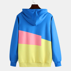 Color Block Drawstring Hooded Long Sleeve Casual Sweatshirt - Slabiti