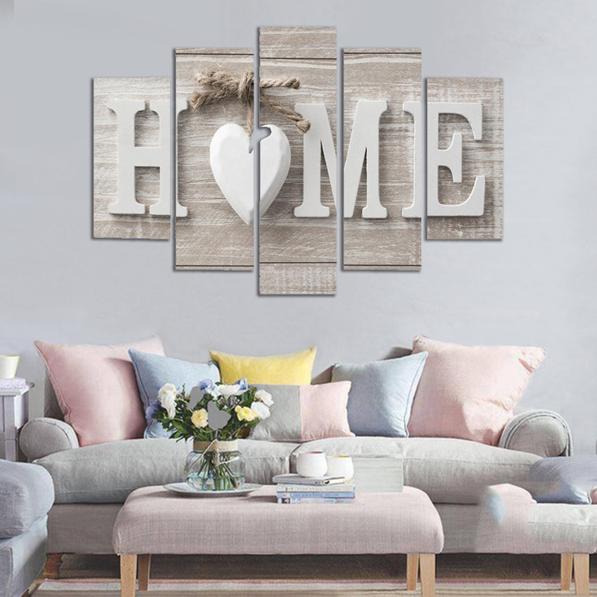 5 Panels Love HOME Wall Art Print Pictures Canvas Wall Art Prints Unframed For Home Decorations - Slabiti