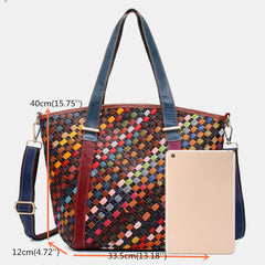 Women Genuine Leather Patchwork Tote Bag Crossbody Bags - Slabiti
