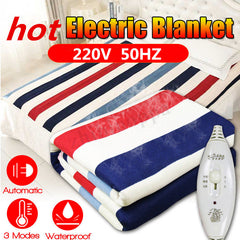 3 Gears Control Electric Blanket Heated Mat Waterproof Luxury Flannel Comfort Single - Slabiti