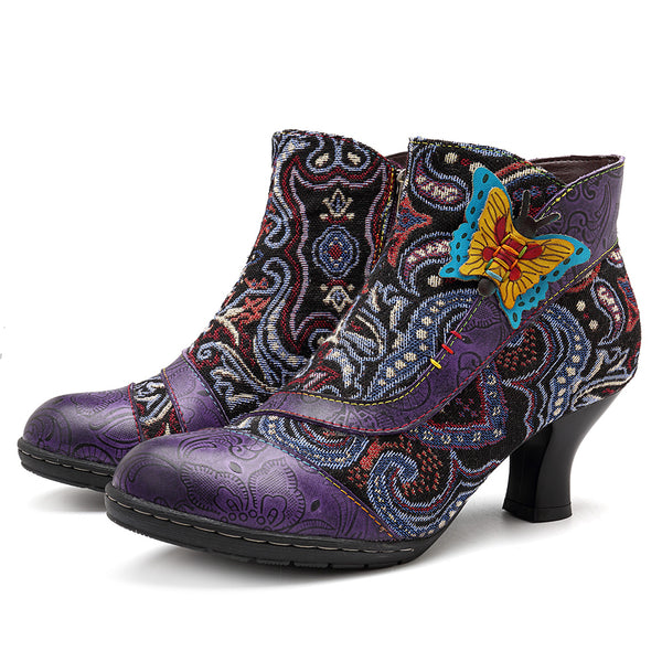 SOCOFY Handmade Genuine Leather Zipper Boots