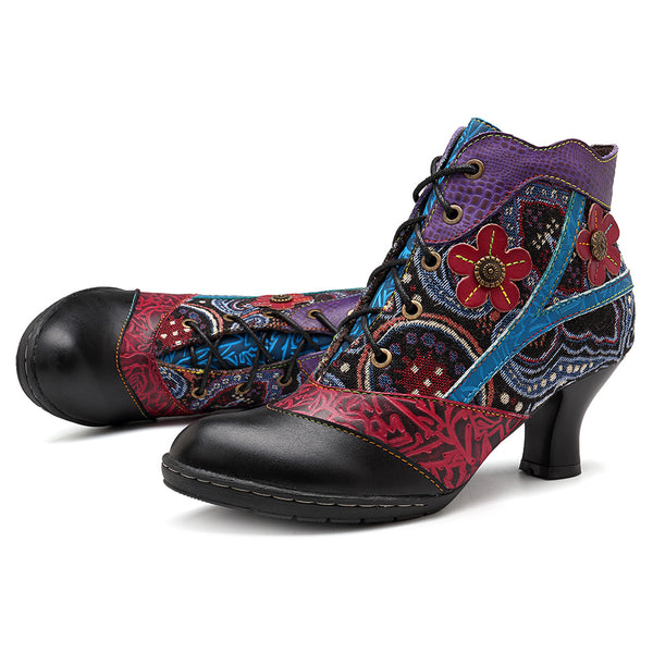 SOCOFY Handmade Jacquard Genuine Leather Ankle Boots