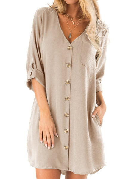 Women Button Down Casual V Neck Loose Mini Dress