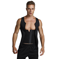 Men's Sports Neoprene Steel Collar Tops Buckle Zipper Pressure Explosion-proof Sculpting Vest - Slabiti