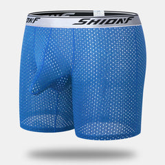 Men Elephant Long Boxer Briefs Ice Silk Mesh Breathable Cool Stretch Sliver Waistband Underwear - Slabiti