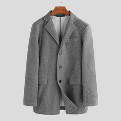 Men Single Breasted Wool Blend Coats - Slabiti