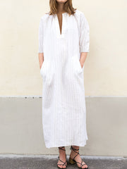 Women Casual V Neck Striped 3/4 Sleeve Maxi Dress - Slabiti