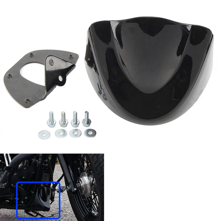 Front Chin Spoiler Fairing Mudguard Cover Black For Harley 2006-2017 Motorcycle - Slabiti