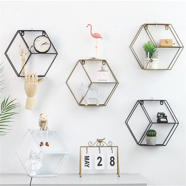 Metal Nordic Hexagon 3 Partitions Wall Shelf Hanging Mounted Rack Storage Hoder Decorations Rack Decorative Hardware