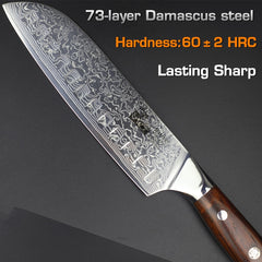 "7"" damascus santoku knife Japanese vg10 steel kitchen knives beautiful solid wood handle quality cook chef knife cutter gift new - Slabiti"