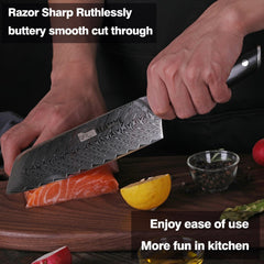 7 inch Japanese damascus steel santoku knife kitchen chef knives vg10 sharp slicing meat fish chop vegetable rosewood handle - Slabiti