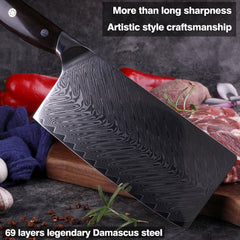 7 inch damascus cleaver Chinese kitchen chef  knife Japanese vg10 steel professional chopper cut vegetable knives ebony rosewood - Slabiti