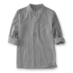 Mens Striped Casual Loose Long Sleeve Tops Shirts - Slabiti