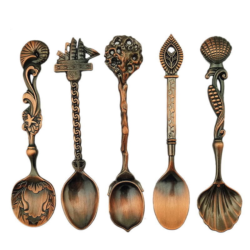 Honana 5 Pcs/Set Mini Bronze Vintage Royal Style Coffee Cooking Spoon Ice Cream Dessert Sugar Scoop