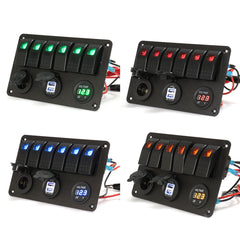 6 Gang LED Rocker Switch Panel Volt Meterr Dual Usb Power Charger Marine Boat RV - Slabiti