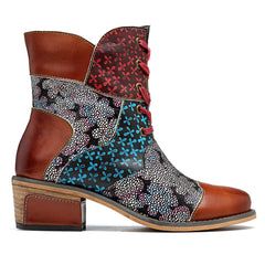 SOCOFY Genuine Leather Splicing Pattern Zipper Ankle Boots - Slabiti