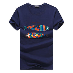 Mens Fish Printed O-neck Short Sleeve Summer Casual T Shirts - Slabiti