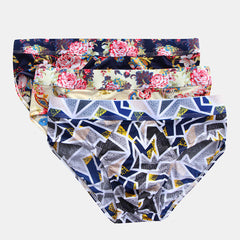 Mens Floral Print Briefs Ice Silk Patchwork Knitting Seamless Thin Quick Dry Underwear - Slabiti