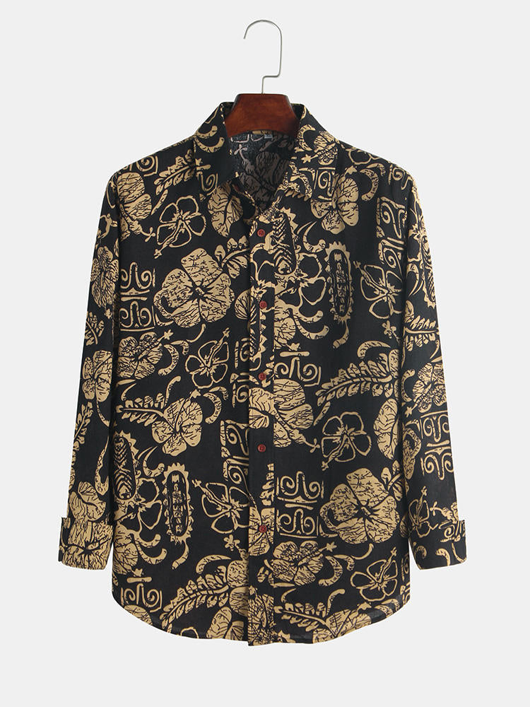 Men Floral Retro Wind Spring Turn Down Collar Long Sleeve Shirts - Slabiti