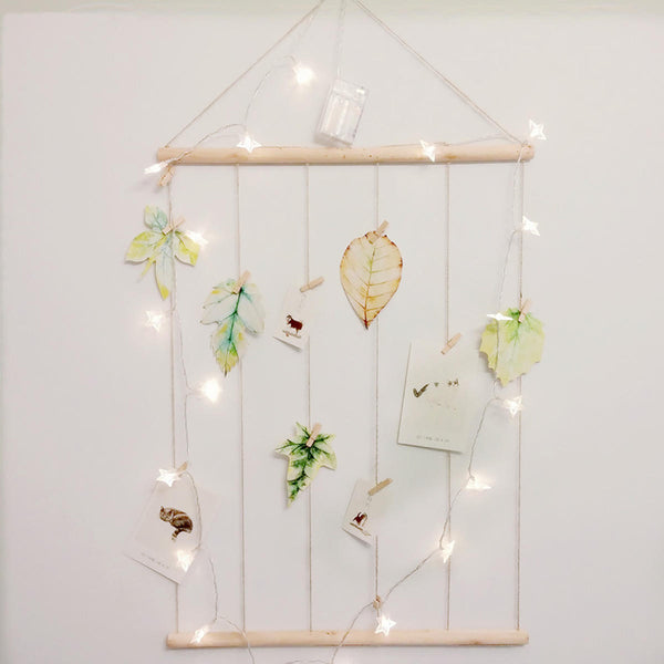 Photo Clip String Lights Household Wall Decoration Light Hanging Display Wooden Picture Phone Frame Collage Artworks Prints Multi Pictures Organizer
