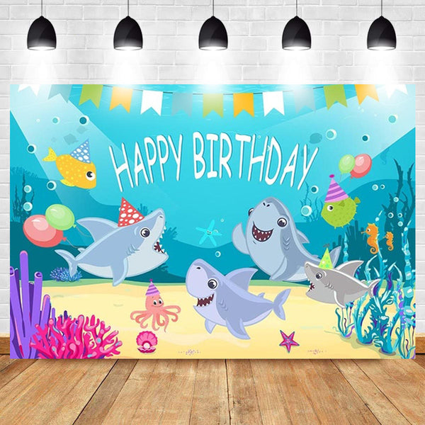 Shark Photography Backdrop Baby Shower Party Birthday Ocean Sea Background Party Decorations - Slabiti