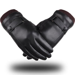 Men Women Full Finger PU Leather Gloves Thick Winter Warm Cycling Driving Windproof Mittens - Slabiti