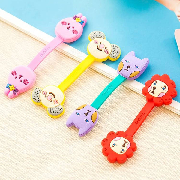 2Pcs Cable Earphome Cord Wrap Cartoon Organizer Holder Silicone Rubber USB Tidy Storage Fastener - Slabiti