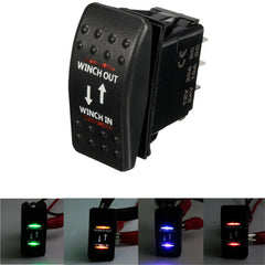 12V 7-Pin 20A Winch In/Out ON-OFF-ON ARB Rocker Switch Car Boat 4 Colors LED - Slabiti