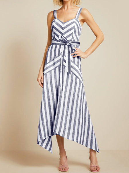 Women Straps Sleeveless High Waist A Line Stripe Dress