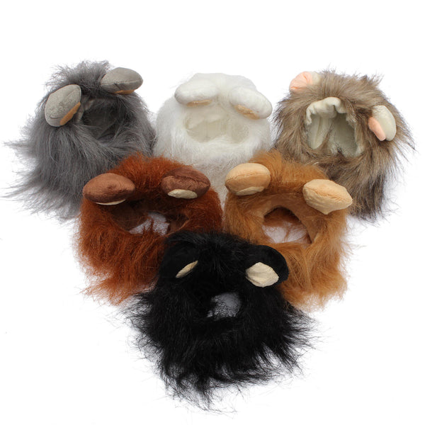 S Pet Dog Cat Artificial Lion Mane Wig Halloween Costume - Slabiti