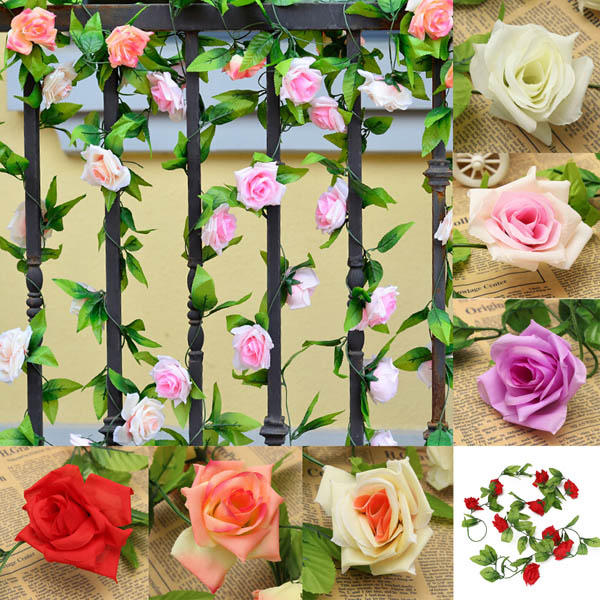 2.4m Artificial Plastic Rose Flower Green Leaves Garland Home Garden Wedding Party Decorations - Slabiti
