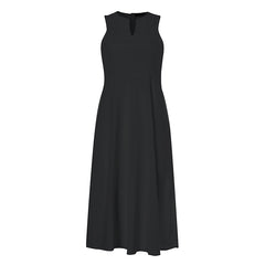 Women Solid Color Sleeveless Loose Casual A-line Dress