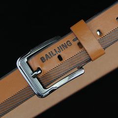 108CM Leather Printting Belt Leisure Jeans Waistband With Alloy Pin Buckle for Men - Slabiti