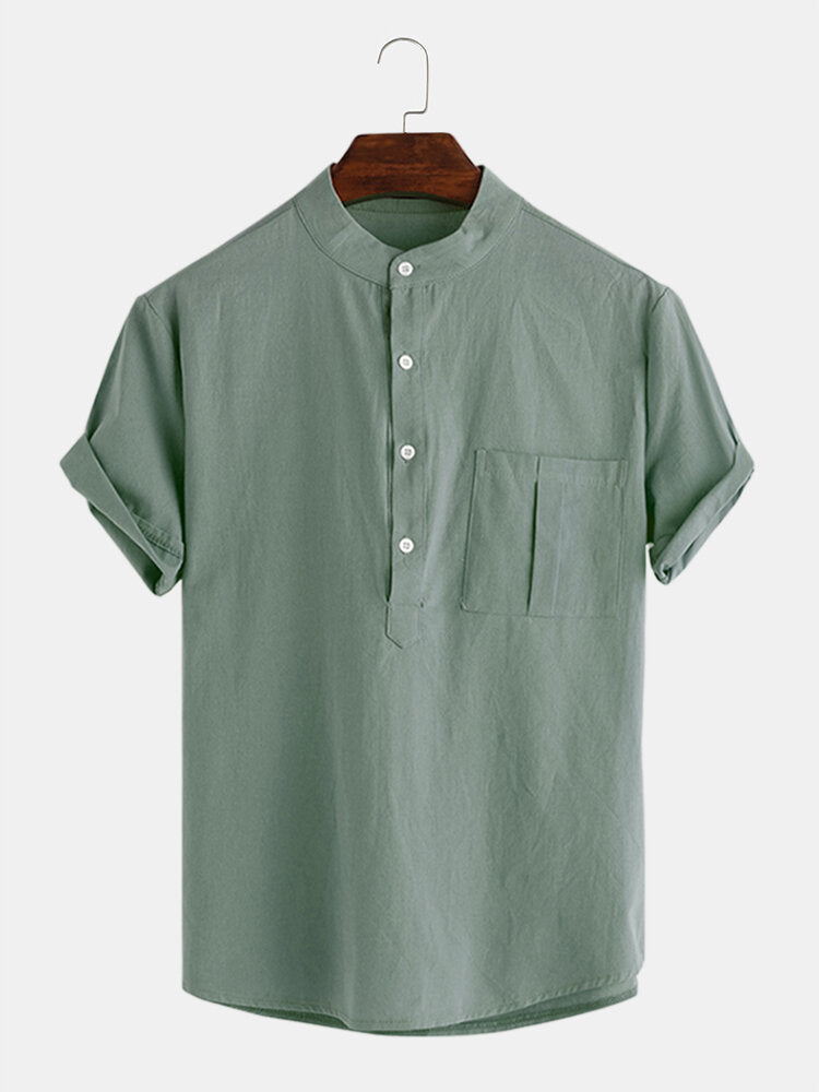 Mens Casual Loose Solid Color Pocket Cotton Shirts - Slabiti