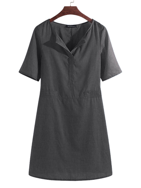 Women Casual Solid Color Short Sleeve V-Neck Shirt Dress