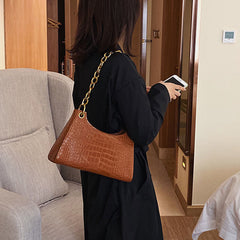 Women Fashion Alligator Chain PU Solid Casual Shoulder Bag Handbag - Slabiti