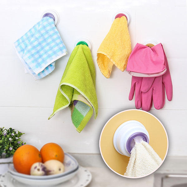 Washcloth Clip Holder Dishclout Storage Rack Kitchen Bathroom Detachable Hand Towel Hanger Hook - Slabiti