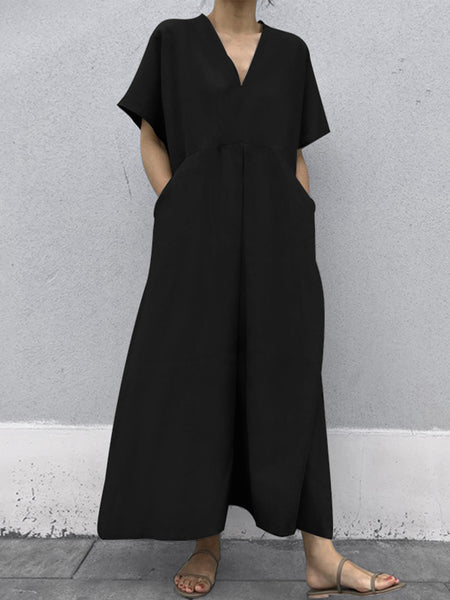 Women Short Sleeve Solid Cotton Casual Loose Maxi Dress - Slabiti