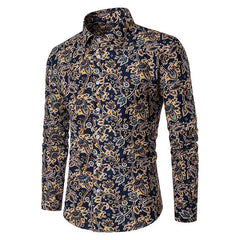 Mens Cotton Flower Printing Design Long Sleeve Turn Down Collar Shirts - Slabiti