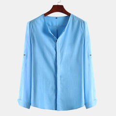 Men Cotton Solid Color Square Collar Long Sleeve Casual Shirts - Slabiti