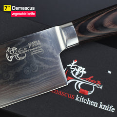 7inch knives Cleaver Chinese Damascus kitchen knife Quality beautiful vg10 steel sharp knife vegetable Chopper wood handle - Slabiti
