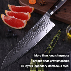8 inch Japanese damascus steel chef knife Gyuto kitchen knives professional hammer blade for sushi Salmon slice classic cutlery - Slabiti