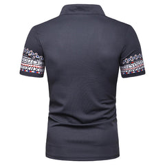 Mens Printing Turn Down Collar Casual Short Sleeve T-shirts - Slabiti