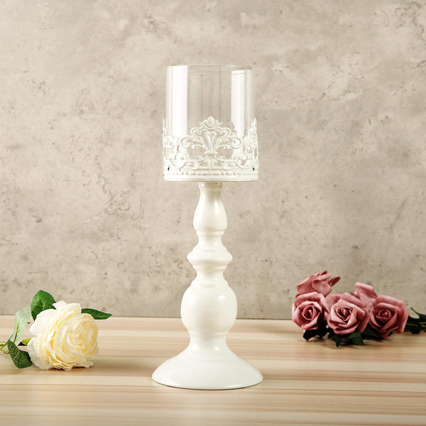 White Carving Flower Candlestick Candle Holder with Glass Lampshade Candelabra Home Wedding Party Decor - Slabiti