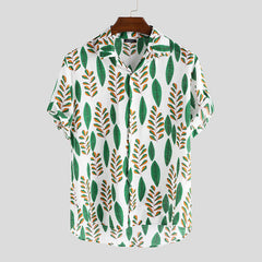 Men Leaf Drop Print Short Sleeve Hawaiian Shirts - Slabiti
