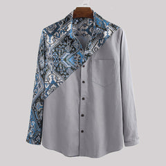 Mens Patchwork Printed Ethnic Style Chest Pocket Long Sleeve Lapel Shirts - Slabiti