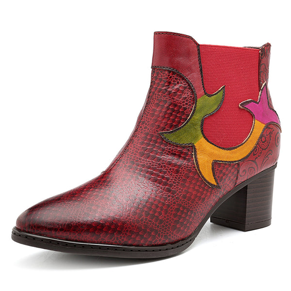 SOCOFY Retro Splicing Genuine Leather Ankle Boots - Slabiti