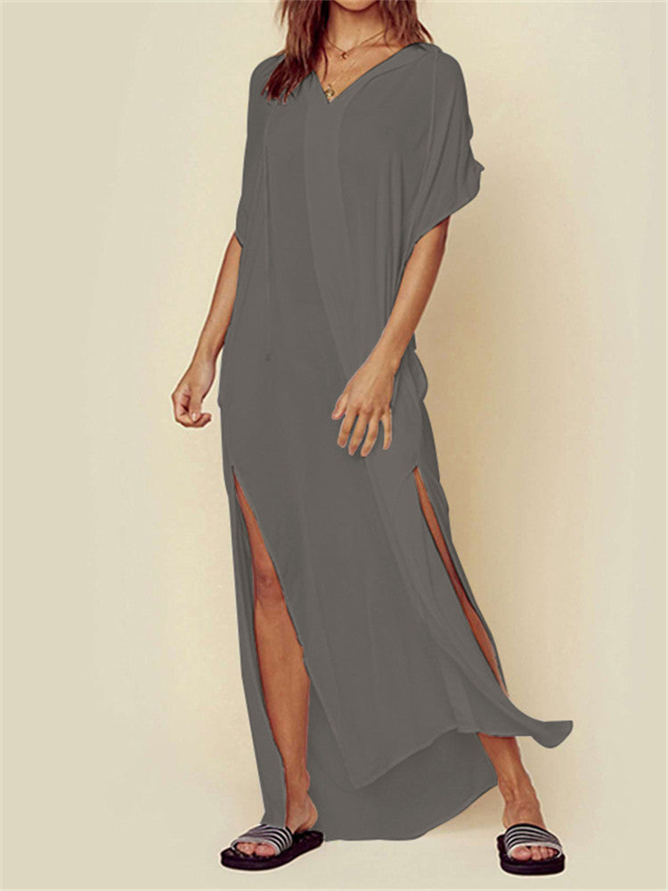 Casual Loose Solid Hooded High Split Long Maxi Dress