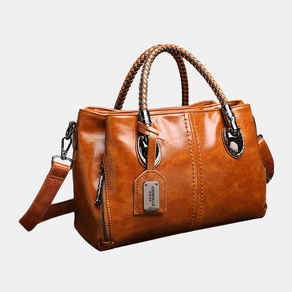 Women Vintage Handbag Oil Wax Leather Three-layer Crosssbody Bag - Slabiti